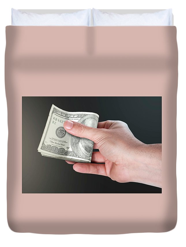 Usa Duvet Cover featuring the digital art Hand Passing Wad Of Cash by Allan Swart