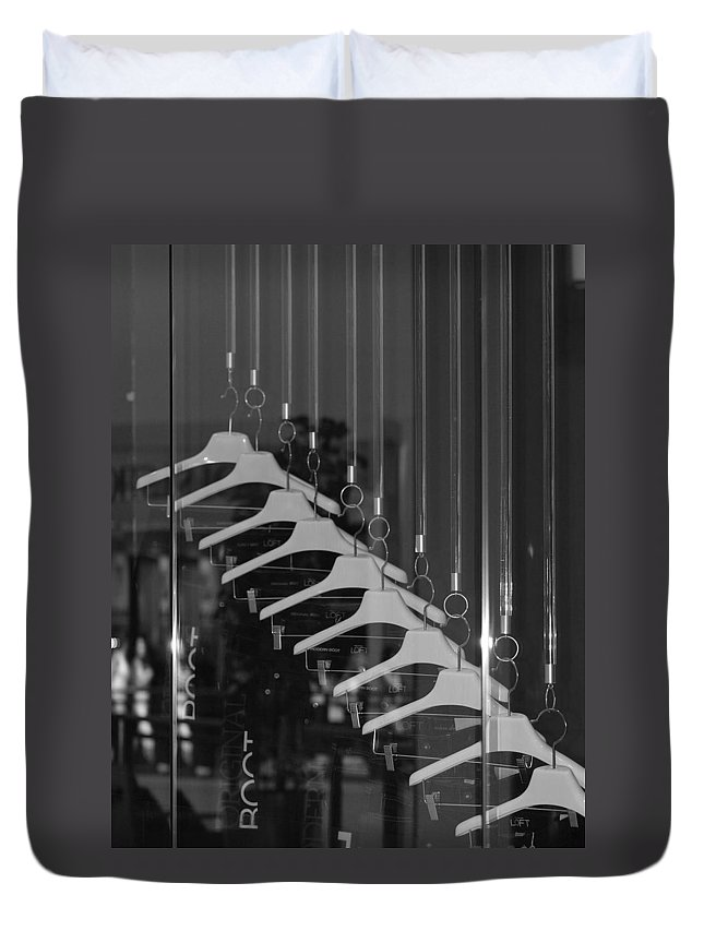 Hangers Duvet Cover featuring the photograph 10 Hangers In Black And White by Rob Hans