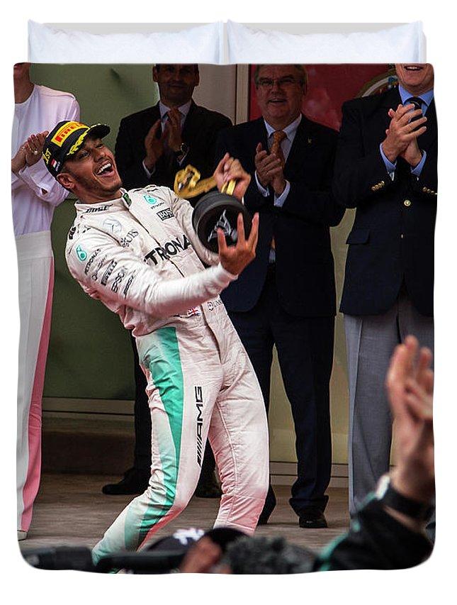 Monaco Duvet Cover featuring the photograph Lewis Hamilton by Srdjan Petrovic
