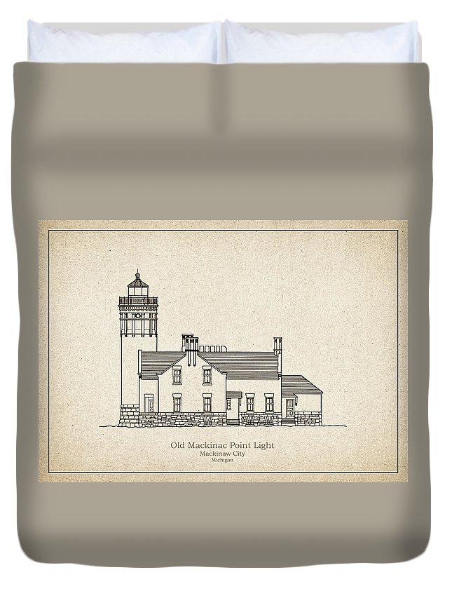 Old Mackinac Point Duvet Cover featuring the drawing Old Mackinac Point Lighthouse - Michigan - Blueprint Drawing by JESP Art and Decor
