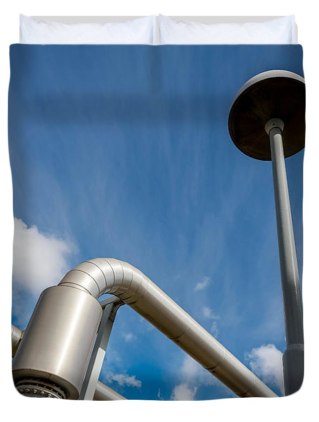 Photography Duvet Cover featuring the photograph Pipes At Nesjavellir Geothermal Power by Panoramic Images