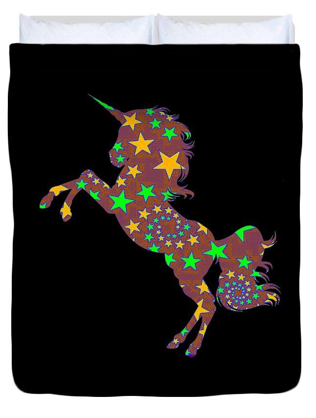Baby-girl Duvet Cover featuring the digital art Rainbow Spiral Star Unicorn Design Poop Emoji by Kaylin Watchorn