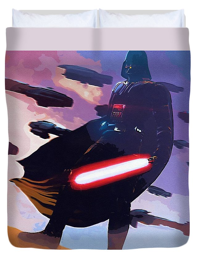 Star Wars Episode 3 Duvet Cover featuring the digital art Saga Star Wars Poster by Larry Jones