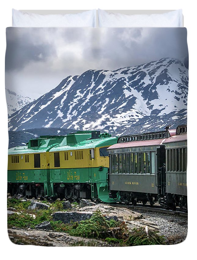 White Duvet Cover featuring the photograph Scenic Train From Skagway To White Pass Alaska by Alex Grichenko