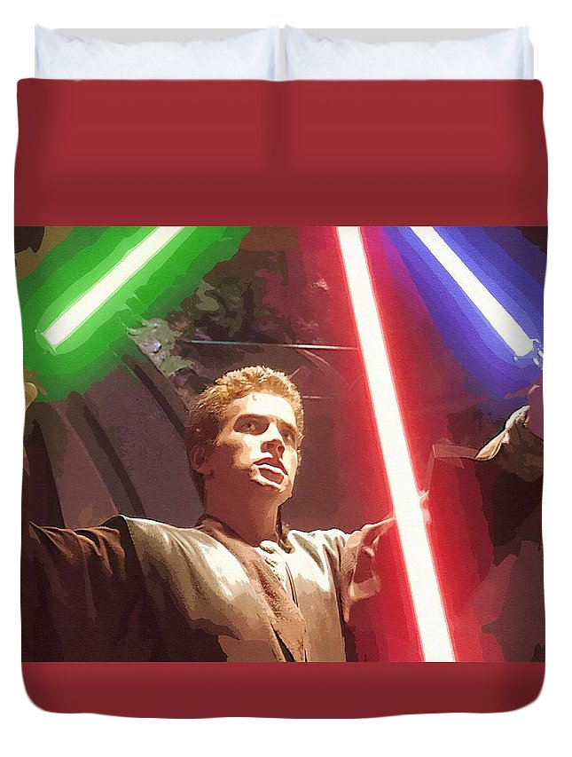 Star Wars Series Duvet Cover featuring the digital art Star Wars Episode 6 Poster by Larry Jones