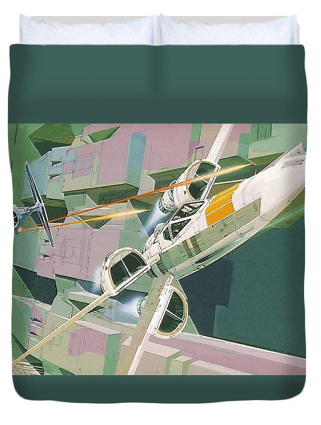 Star Wars Fighter Duvet Cover featuring the digital art Star Wars Heroes Art by Larry Jones