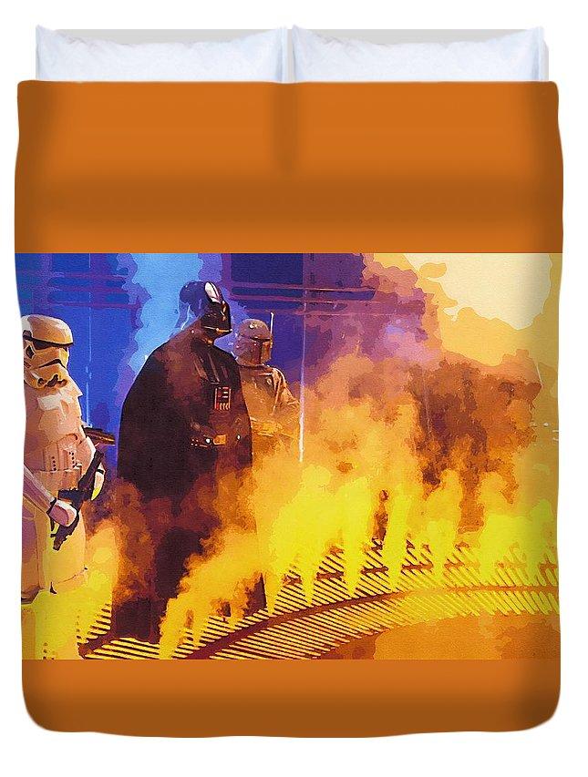 Star Wars Clone Trooper Duvet Cover featuring the digital art Star Wars Movie Poster by Larry Jones