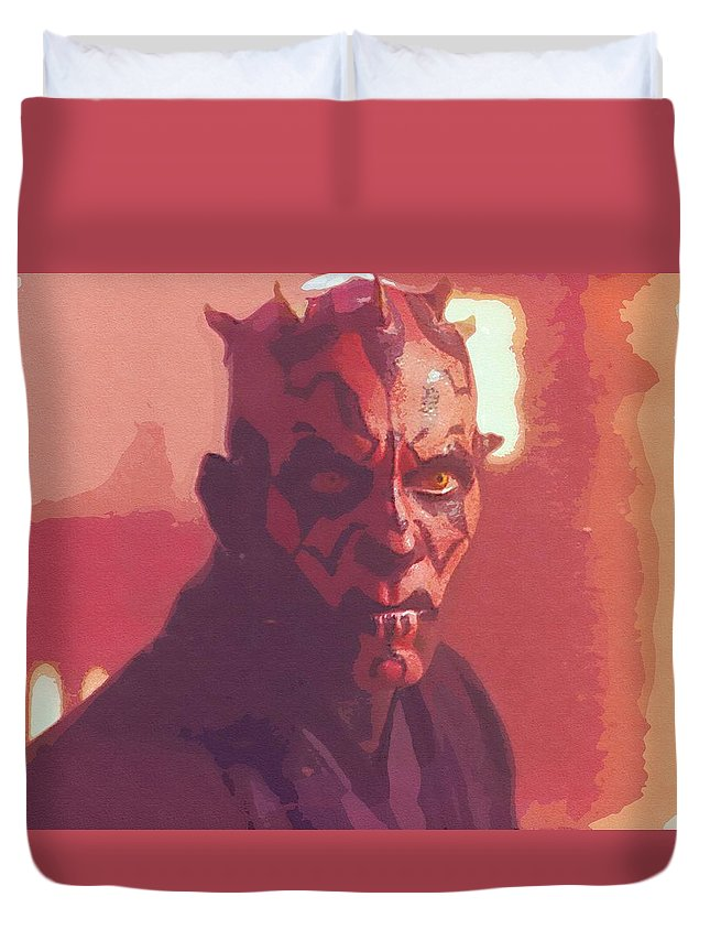 Star Wars Vader Duvet Cover featuring the digital art Star Wars The Trilogy Art by Larry Jones