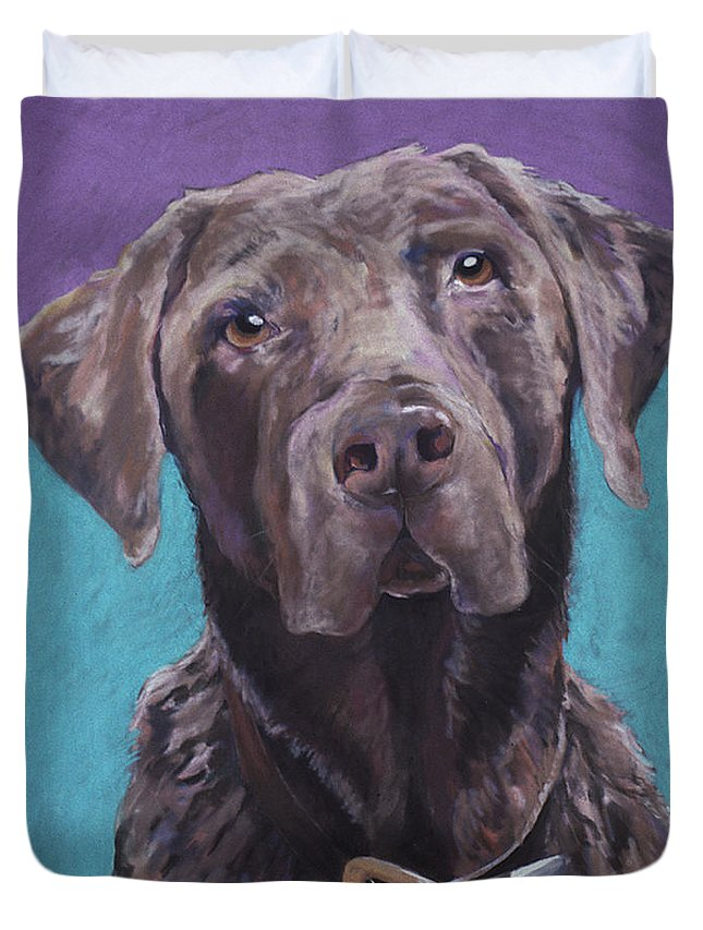 Pet Portrait Commissions Duvet Cover featuring the pastel 100 Lbs. Of Chocolate Love by Pat Saunders-White