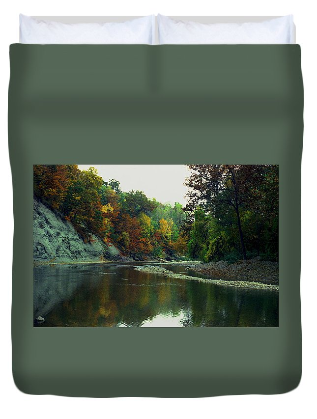 Autumn Duvet Cover featuring the photograph 100608-1 by Mike Davis