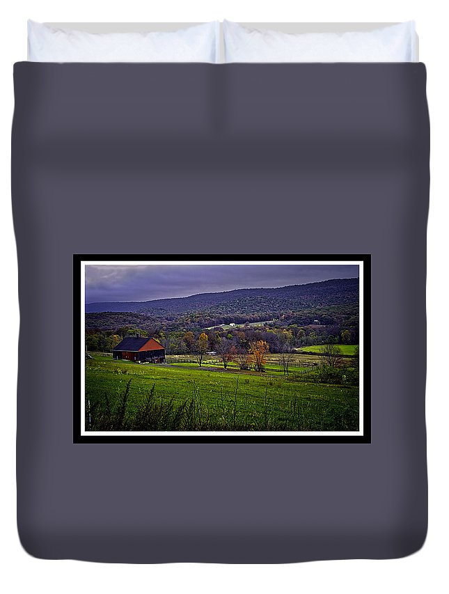 Farm Duvet Cover featuring the photograph 101214-108 by Mike Davis