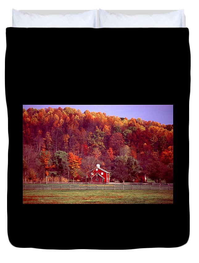 Autumn Duvet Cover featuring the photograph 102701-16 by Mike Davis