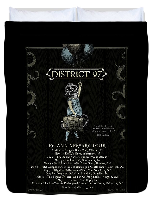 Duvet Cover featuring the digital art 10th Anniversary Tour by District 97