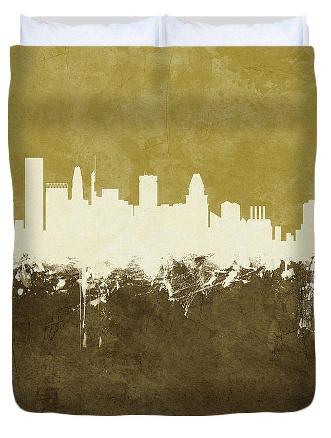 Baltimore Duvet Cover featuring the digital art Baltimore Maryland Skyline by Michael Tompsett