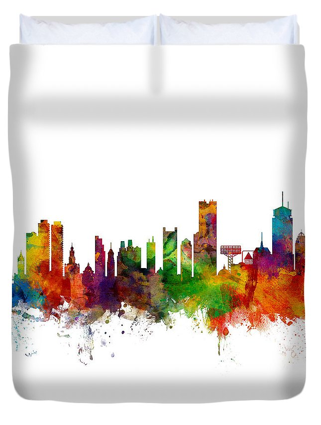 United States Duvet Cover featuring the digital art Boston Massachusetts Skyline by Michael Tompsett