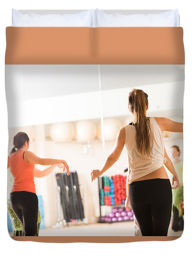 Active Duvet Cover featuring the photograph Dance Class For Women by Nikita Buida