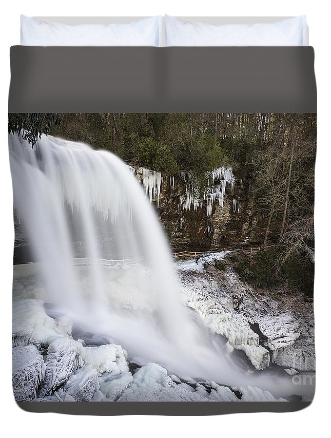 Appalachian Duvet Cover featuring the photograph Dry Falls - Highlands, Nc by John MacLean