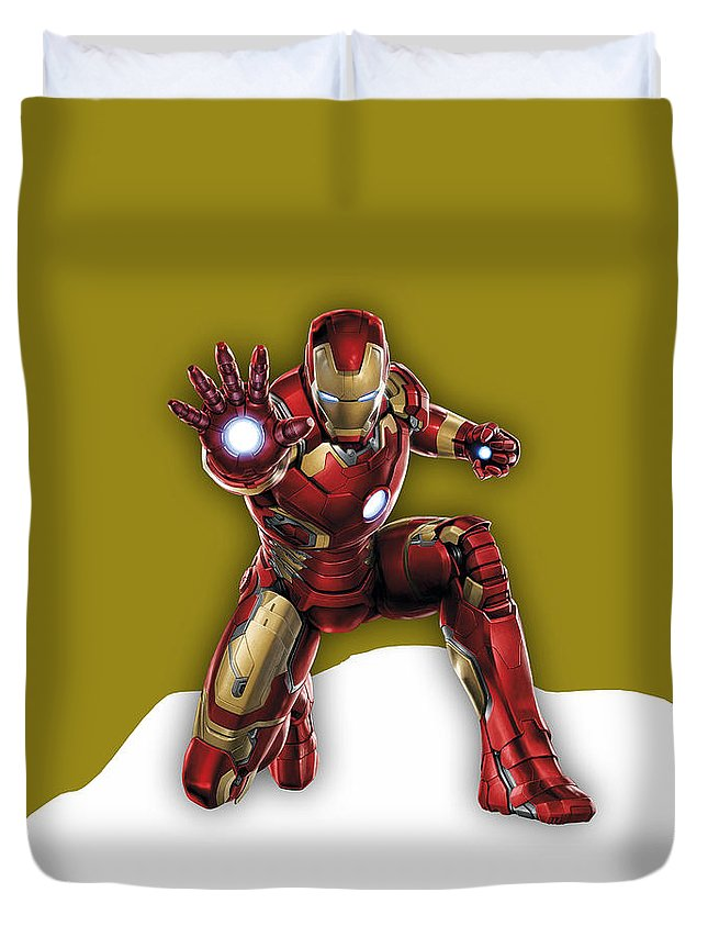 Iron Man Duvet Cover featuring the mixed media Iron Man Collection by Marvin Blaine