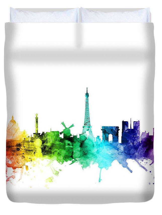 Paris Duvet Cover featuring the digital art Paris France Skyline by Michael Tompsett