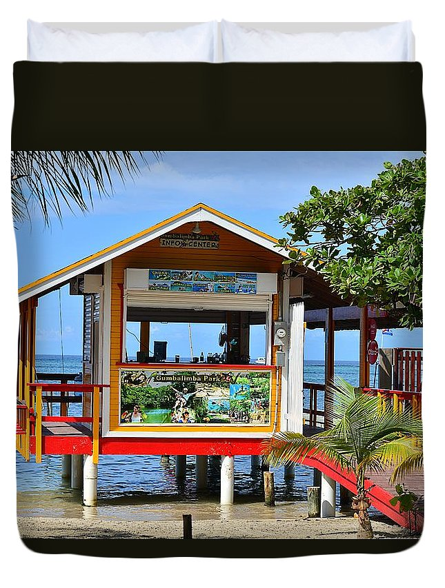 Duvet Cover featuring the photograph Roatan Life by Gianni Bussu