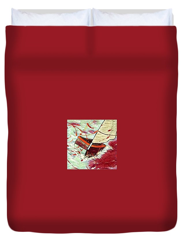 Duvet Cover featuring the digital art Sail by Melinda Sullivan Image and Design