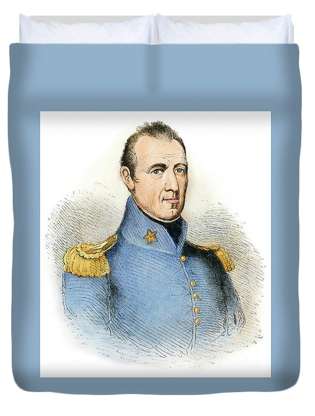 1837 Duvet Cover featuring the drawing Sam Houston, 1793-1863 by Granger