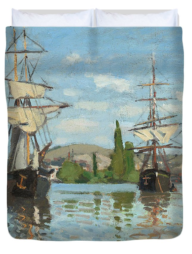 Ships Riding Duvet Cover featuring the painting Ships Riding On The Seine At Rouen by Claude Monet