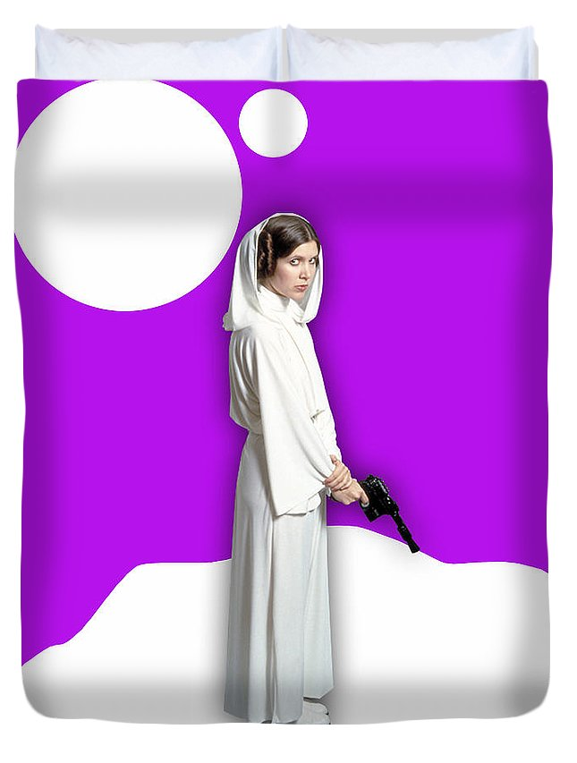Princess Leia Duvet Cover featuring the mixed media Star Wars Princess Leia Collection by Marvin Blaine