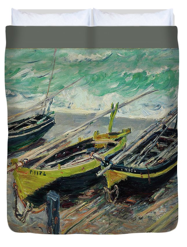 Claude Monet Duvet Cover featuring the painting Three Fishing Boats by Claude Monet