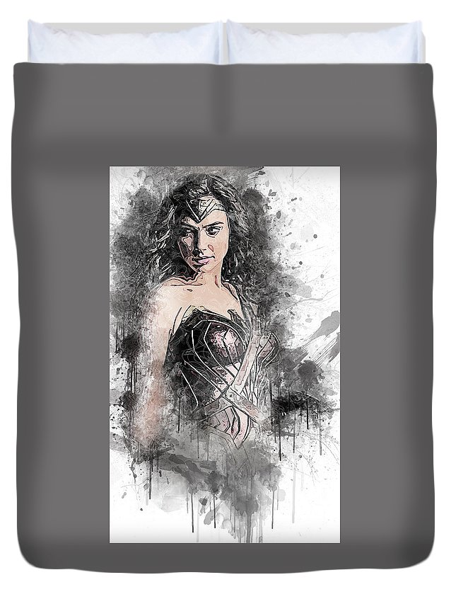 Batman Duvet Cover featuring the digital art Wonder Woman by Anna J Davis