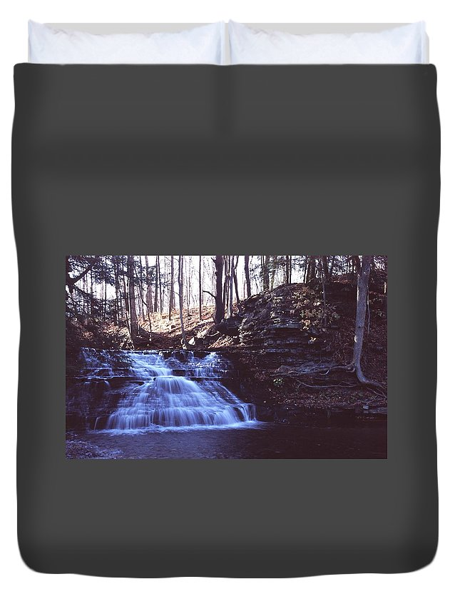 Waterfall Duvet Cover featuring the photograph 111401-4 by Mike Davis
