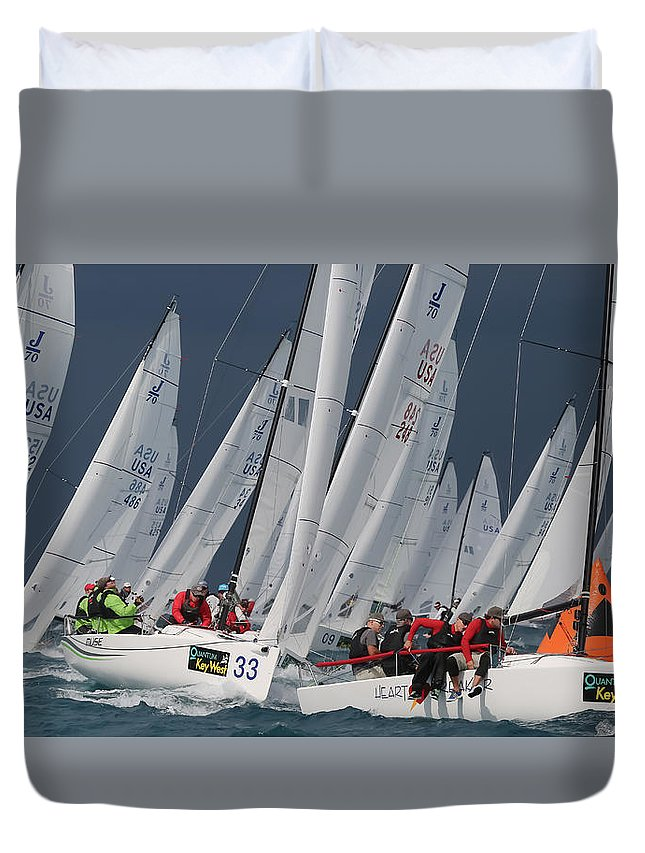 Water Duvet Cover featuring the photograph Key West Race Week by Steven Lapkin