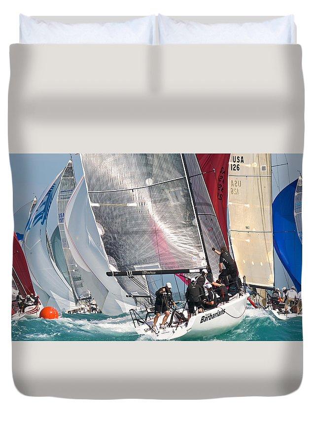 Sail Duvet Cover featuring the photograph Key West Race Week by Steven Lapkin