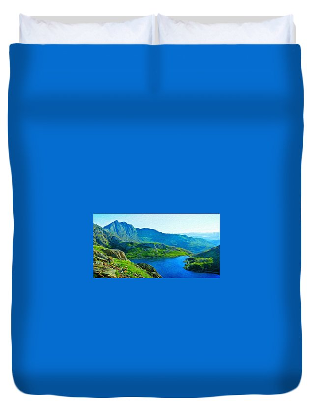 Landscape Duvet Cover featuring the painting Landscape Definition Nature by World Map