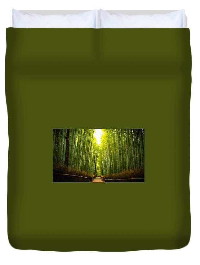 Landscape Duvet Cover featuring the painting Nature Landscape Work by World Map