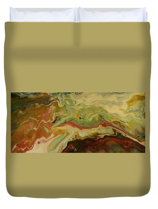 Abstract Duvet Cover featuring the painting Acrylic Pour by Sonya Wilson