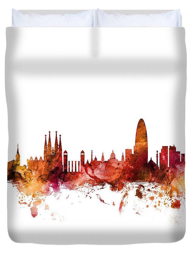 Barcelona Duvet Cover featuring the digital art Barcelona Spain Skyline by Michael Tompsett