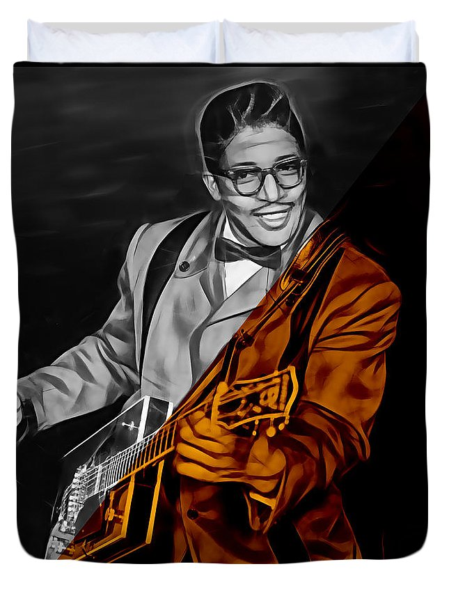 Bo Diddley Duvet Cover featuring the mixed media Bo Diddley Collection by Marvin Blaine
