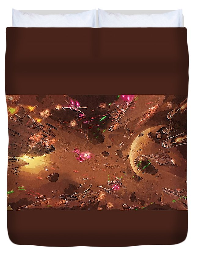 Star Wars Galactic Heroes Duvet Cover featuring the digital art Jedi Star Wars Poster by Larry Jones