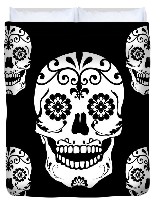 Duvet Cover featuring the mixed media Simple Sugar Skulls by Zachary Govitz