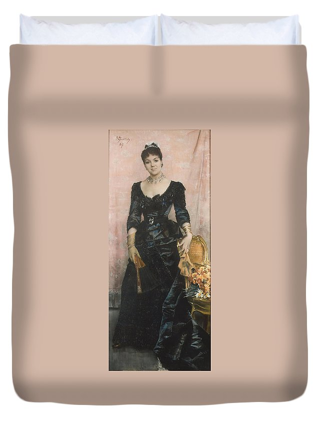 Alfred Stevens Duvet Cover featuring the painting Portrait Of A Lady by MotionAge Designs