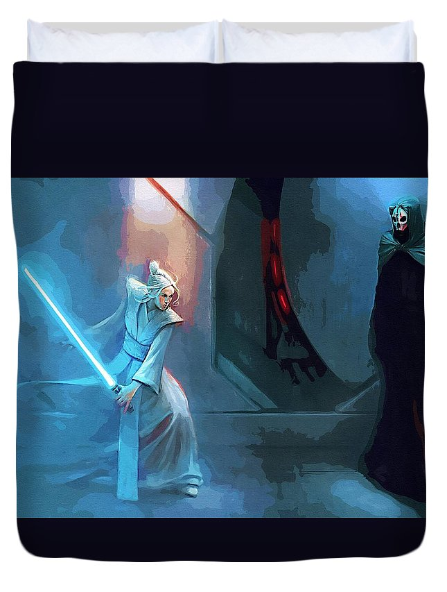 Star Wars Episode 3 Duvet Cover featuring the digital art Star Wars 3 Poster by Larry Jones