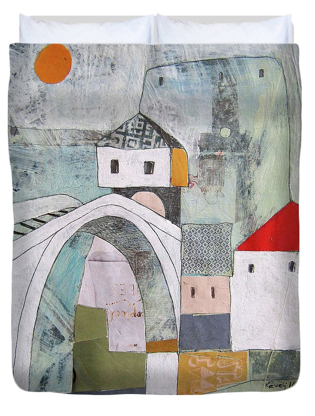 Duvet Cover featuring the painting Stari Most, Mostar by Emir Kevelj
