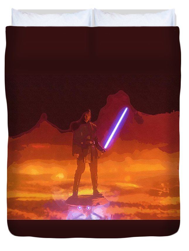 Star Wars Vader Duvet Cover featuring the digital art The Star Wars Art by Larry Jones