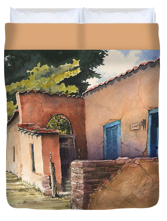 Adobe Duvet Cover featuring the painting 1247 Agua Fria Street by Sam Sidders