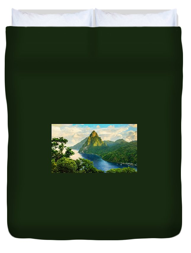 Landscape Duvet Cover featuring the painting Landscape Art Nature by World Map