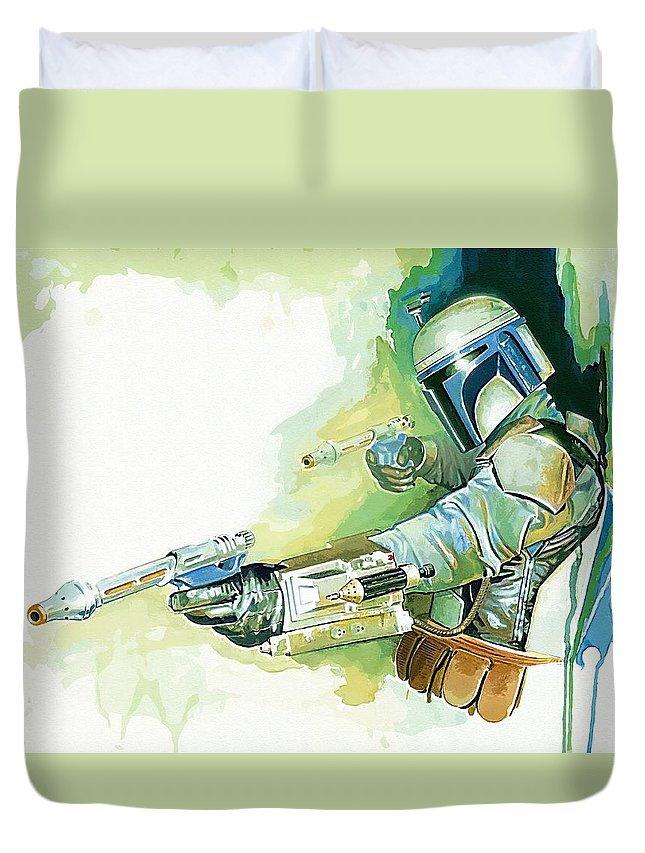Star Wars Trooper Duvet Cover featuring the digital art 2 Star Wars Poster by Larry Jones