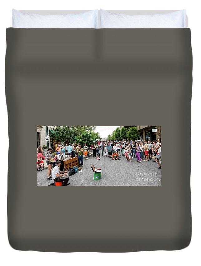 Asheville Duvet Cover featuring the photograph Bele Chere Festival by David Oppenheimer