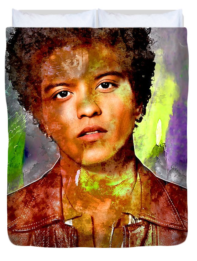 Bruno Mars Duvet Cover featuring the mixed media Bruno Mars by Marvin Blaine
