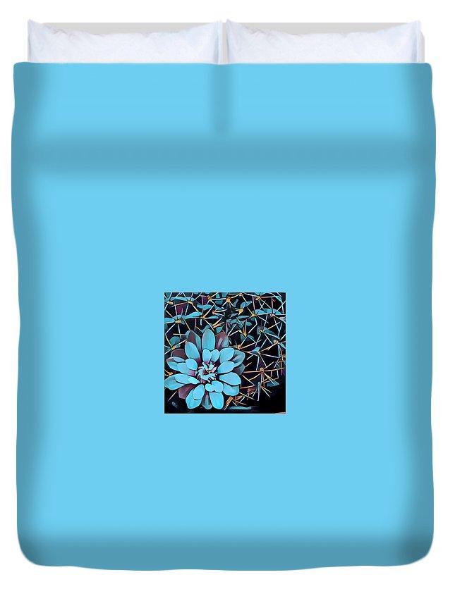 Duvet Cover featuring the digital art Cacti by Melinda Sullivan Image and Design